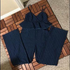 Anthropologie ett:twa stripe denim jumpsuit .
